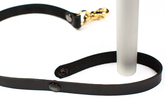 Promenade Leash - Black Latigo Leather - Ebony & Brass Rivets